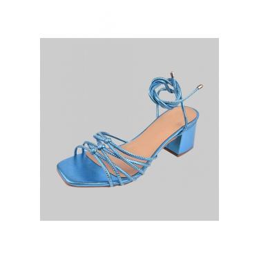 Sandalias Salto Quadrado Dona Madame 010201 Azul  feminino