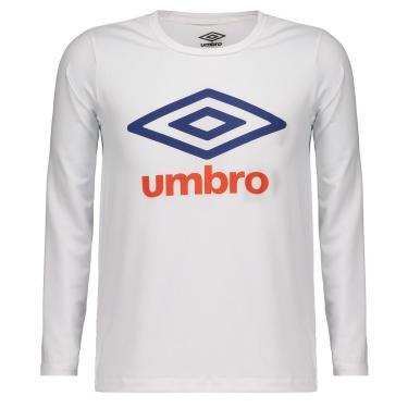 Camiseta Umbro Basic UV Manga Longa Juvenil Branca - 12 ANOS
