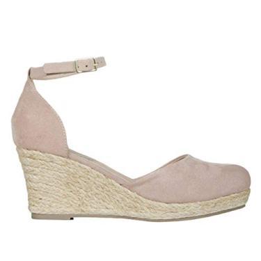 Sandálias femininas Espadrilles Plataforma com fivela no tornozelo com tiras para o verão com bico fechado, Caqui, 9