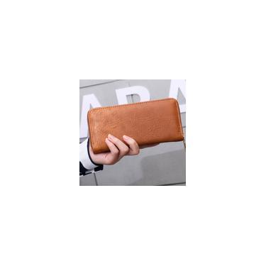 Mulheres Carteira personalizou o bolsa carteira bolsa da moeda Titular Notecase Zipper Wallet Castanho Claro