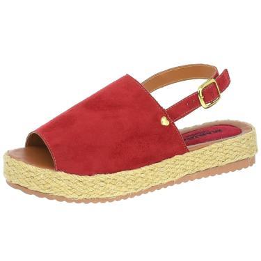 Imagem de Sandalia Avarca Mariha Calçados Flatform Corda Vermelho  feminino