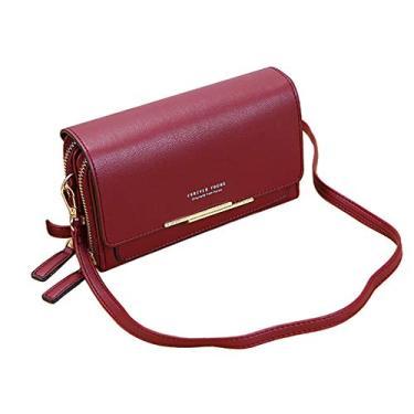 Imagem de oshhni Bolsa de Couro com Bolsa Ajustável de Couro para Mulheres - Vinho vermelho