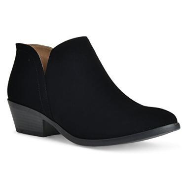 Imagem de Bota feminina Madeline Western com bico redondo e amêndoa – Salto baixo – Zíper – Bota casual no tornozelo, Black Nubuck, 6.5