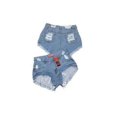 Short Jeans Bermuda Feminino Cintura Alta Hot Pant Desfiado Destroyed
