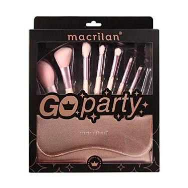 Kit 7 Pincel Maquiagem Go Party Macrilan Ed007 Bolsa Estojo - MACRILAN