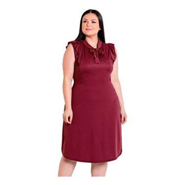 Vestido Plus Size Moda Evangélica Midi Feminino Rodado Festa (Bordô, M)