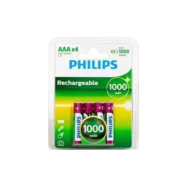 4 Pilha Recarregáveis AAA Philips 1000mah Hr03 Micro