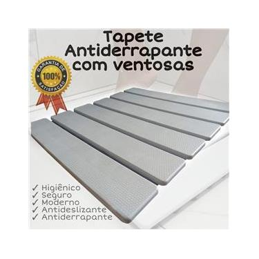 Imagem de Tapete Branco Estrado Antiderrapante Para Box Com 108 Ventosas - Super seguro
