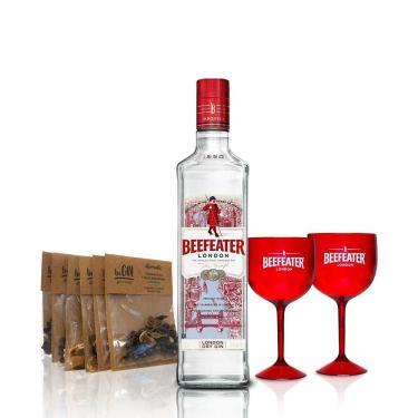 Kit Gin Beefeater Dry 750ml + Especiarias para Gin Tônica beGIN + 2 Taças Acrílicas