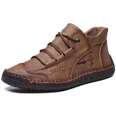 Moodeng sapato masculino casual couro Oxford clássico sapato social costura à mão tornozelo botas confortável respirável dirigir sapatos de cadarço sapatilhas, Caqui, 7.5