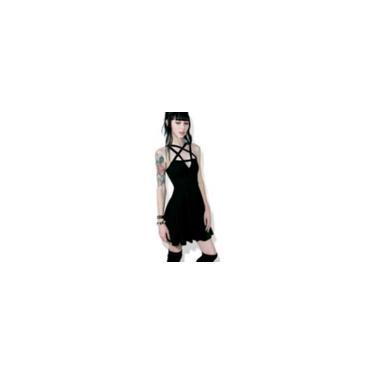 Mulheres vestido sem mangas Estrela Spaghetti Strap Lace Up Vestido Slim Fit Vestido cintura