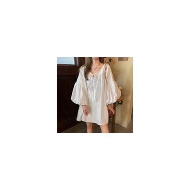 Imagem de S-5XL feminino manga flare decote em v cor sólida túnica solta vestido verão casual folgado vestido t-shirt vestidos Branco L