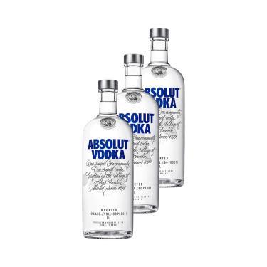 Vodka Absolut Original 1 Litro - 3 Unidades