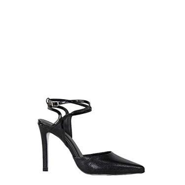 Scarpin SHEPZ chanel clássico bico fino salto alto tiras com ajuste nos tornozelos preto