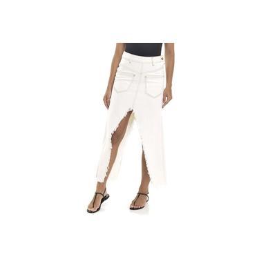 Saia Longa Jeans Dialogo Off White Com Recorte Feminina