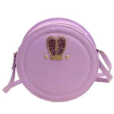 Valicclud — Bolsa tiracolo redonda para meninas e mulheres, bolsa de ombro de couro com zíper (violeta)