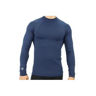 Camiseta UV Masculina Proteção Solar Manga Longa Fitness Azul Marinho