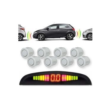 Sensor de Estacionamento Dianteiro e Traseiro 8 Pontos com Visor LED Tiger 18mm Sobrepor Branco Universal