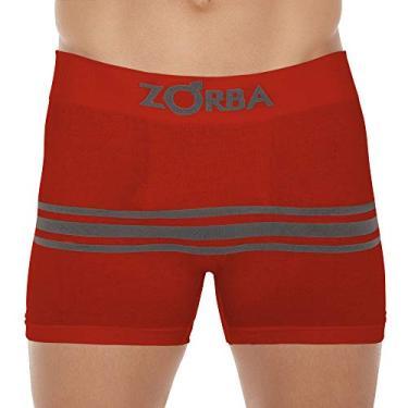 Cueca Boxer Zorba Seamelss Listras 843 P Vermelho Escuro.