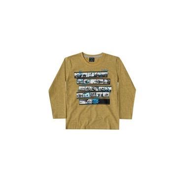 Camiseta Quimby Meia Malha Longa Safari Mescla Mostarda