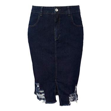 Saia Jeans Midi Destroyed Moda Evangélica Plus Size