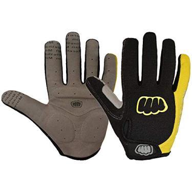Luvas de ciclismo Funien – Luvas femininas masculinas de inverno para ciclismo com dedos inteiros de lã térmica sensível ao toque luvas de bicicleta antiderrapante Gel Pad luvas de motocicleta MTB Road Bike (amarelo GG)