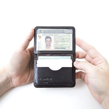 Carteira Mini Couro Legítimo Porta Cartão Cnh Masculina 154 (Café)