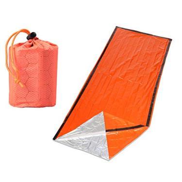 Lioobo Saco de Dormir Portátil de Alumínio PE Saco de Sobrevivência Sacos Cobertor de Emergência para Atividades ao Ar Livre Acampamento Caminhadas - (1 Saco de Dormir + 1 Saco de Armazenamento para Cada Conjunto