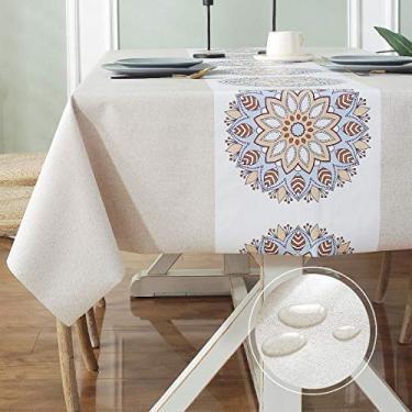 Imagem de LOHASCASA Toalha de mesa de vinil resistente à prova d'água PVC toalha de mesa de plástico lavável à prova de derramamento Peva Toalha de mesa para primavera, acampamento, piquenique, retangular, 137 x 183 cm