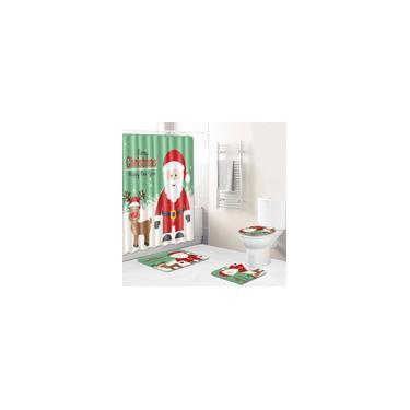 Imagem de 4 peças combinadas de Natal capa banheiro tapete de banheiro tapete higiênico cortina de chuveiro y13842