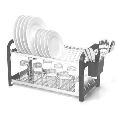 Escorredor 20 Pratos Aço Inox Lateral Em Plástico Preto.