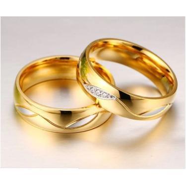 Imagem de Alianças Banhada Ouro 18K Casamento Tradicional Noivado Anel