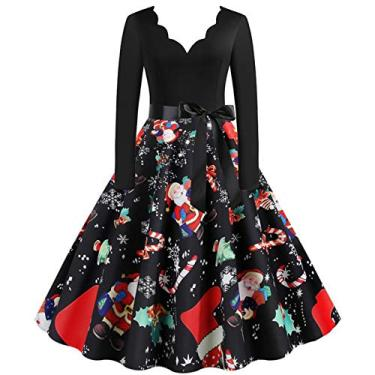 ZEFOTIM Vestido de Halloween Natal 2020, vestido feminino vintage de manga comprida anos 50 para dona de casa para festa noturna, Christmas#09, Small