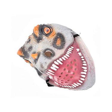 Imagem de NUOBESTY Máscara de Dinossauro de Dia das Bruxas Máscara de Animal para Festa de Halloween Decoração de Fantasia Acessórios Engraçados e Truques (Cinza Tiranossauro)