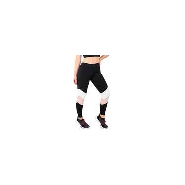 Imagem de Calça Feminina Legging Fitness Preto Com Detalhes Chocolate e Branco