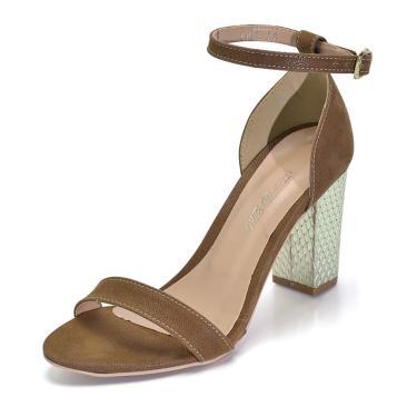 Sandália Salto Grosso Flor da Pele Chocolate  feminino