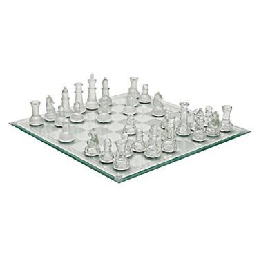 Jogo de Xadrez com Tabuleiro e Pecas de Vidro. Incasa.