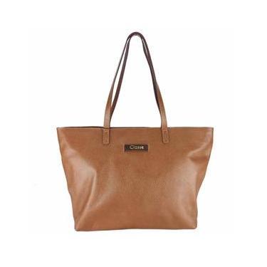 Bolsa Couro Shopping Bag Marrom Caramelo Classe Couro 2489