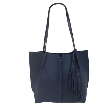 Bolsa Real Arte Saco e Detalhe Franja Azul Marinho  feminino
