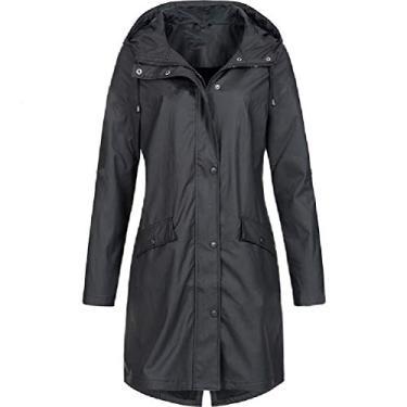 CRYYU Casaco de moletom feminino para uso ao ar livre outono inverno plus size jaqueta corta-vento, Preto, Small