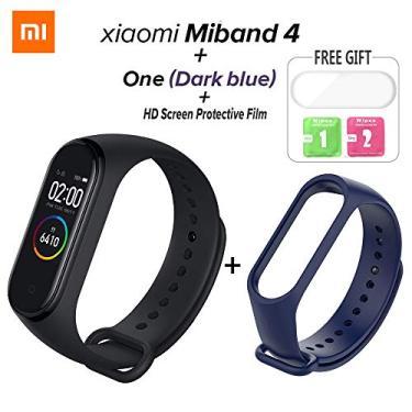 Relógio Inteligente Xiaomi Mi Band 4 Original Bluetooth 5.0 - Versão em INGLÊS FULL (Pulseira Azul escura + Película)
