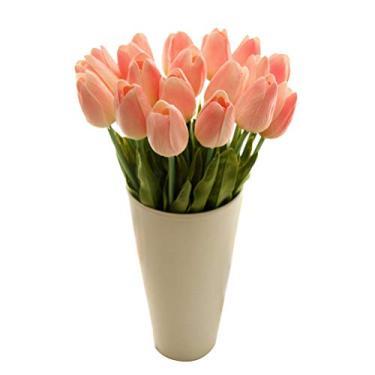 Vosarea Tulipas artificiais de toque real tulipas flores para decoração de festa de casamento e casa (champanhe)