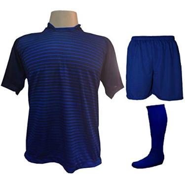 Imagem de Fardamento Completo modelo City 18+2 (18 Camisas Marinho/Royal + 18 Calções Madrid Royal + 18 Pares de Meiões Royal + 2 Conjuntos de Goleiro) + Brindes