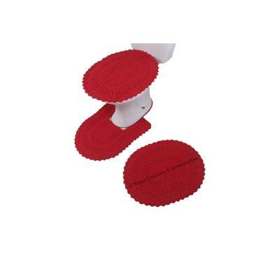 Imagem de Jogo De Tapetes De Banheiro Em Crochê Artesanal 3 Peças Vermelho - Rosa Crochês