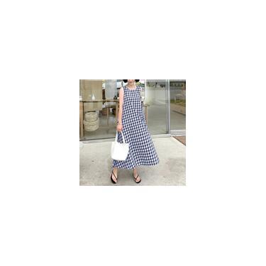 S-5XL Mulheres's Vestido xadrez xadrez sem mangas de verão Vestido de verão folgado casual Marinha 3XL