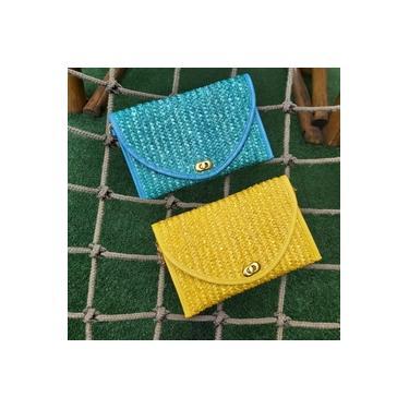 Bolsa Carteira Clutch Palha Color Azul