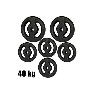 Kit Anilhas Pintada 40kg com 2 Anilhas 10kg + 4 Anilhas 5kg Preta