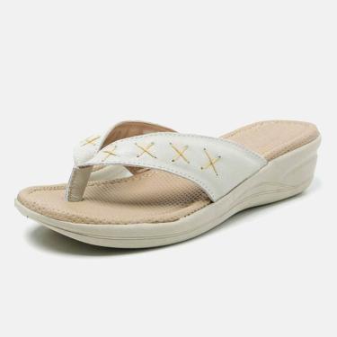 Sandália Chinelo Torani Confortável Couro Bege Creme  feminino