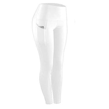 SAFTYBAY Calça legging feminina de cintura alta com controle de barriga, calça de ioga com bolsos, legging capri para mulheres (branca, GG)