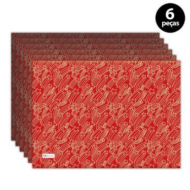 Imagem de Jogo Americano Mdecore Natal Estrelas 40x28 cm Vermelho 6pçs